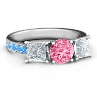 Majestic Three Stone Eternity with Twin Accents Ring