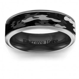 Men's Black Camouflage Tungsten Ring