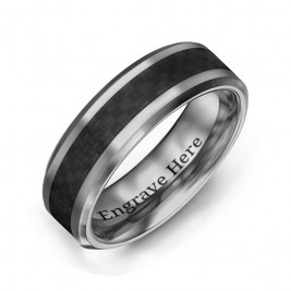 Men's Black Carbon Fiber Inlay Polished Tungsten Ring