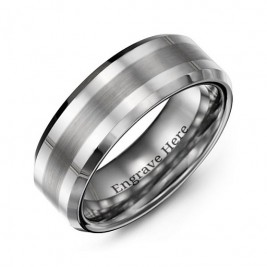 Men's Brushed Centre Stripe Polished Tungsten Ring