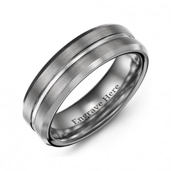 Men's Brushed Grooved Centre Beveled Tungsten Ring