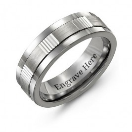 Men's Brushed Ribbed Tungsten Band Ring