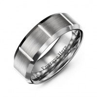 Men's Brushed Vertical Grooved Polished Tungsten Ring
