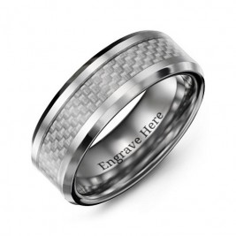 Men's Clear Carbon Fiber Inlay Polished Tungsten Ring