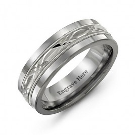Men's Cut Out XO Centre Tungsten Band Ring