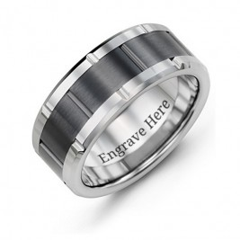 Men's Grooved Bicolour Tungsten Ring