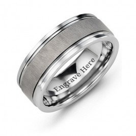 Men's Grooved Tungsten Ring with Brushed Centre