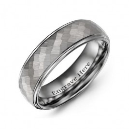 Men's Hammered Centre Polished Tungsten Ring
