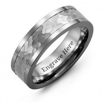Men's Hammered Tungsten Band Ring