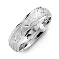 Men's Milgrain Ring with Zig-Zag Pattern