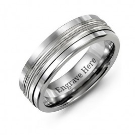Men's Modern Beaded Centre Tungsten Band Ring
