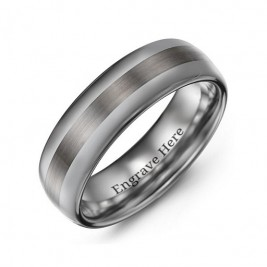 Men's Polished Brushed Centre Tungsten Ring