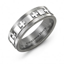 Men's Polished Crosses Tungsten Band Ring