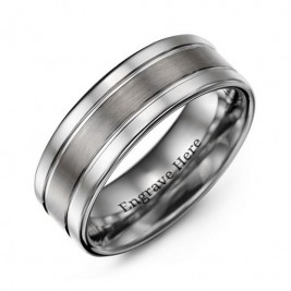 Men's Polished Tungsten Brushed Centre Ring
