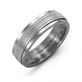 Men's Ribbed Centre Tungsten Band Ring
