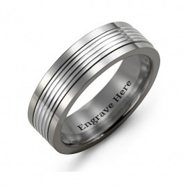 Men's Tungsten Inlay Band Ring