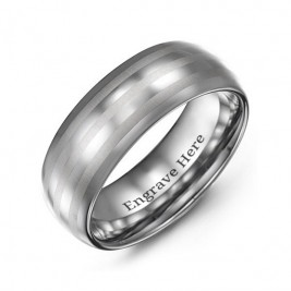 Men's Tungsten Polished Triple Stripe Satin Centre Ring