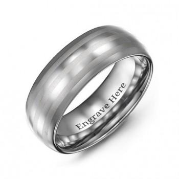 Men's Tungsten Polished Triple Stripe Satin Centre Ring