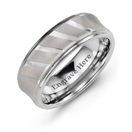 Men's Tungsten Ring with Diagonal Brushed Stripes