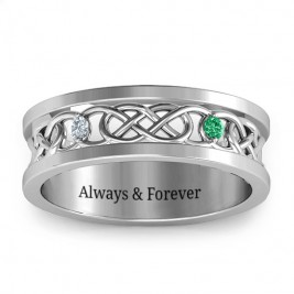 Men's Two-Stone Interwoven Infinity Band