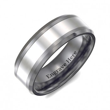 Men's Two Tone Black Tungsten Polished Ring