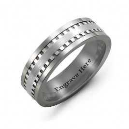 Men's Vertical Grooved Centre Tungsten Band Ring
