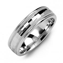 Milgrain Men's Ring with Baguette-Cut Centre