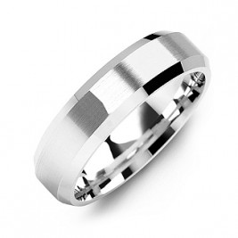 Modern Brushed Men's Ring with Beveled Edges