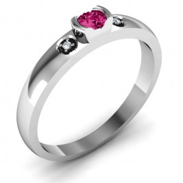 Open Bezel Cut Ring with Accents Stones