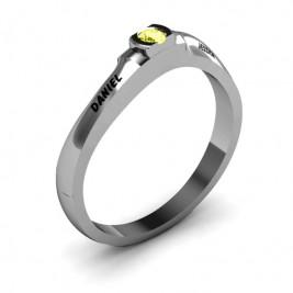 Open Bezel Set Swirl Ring