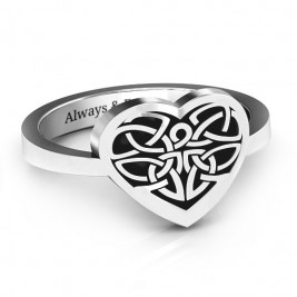 Oxidized Silver Celtic Heart Ring