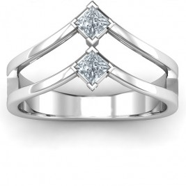 Peaks and Valleys Geometric Ring With Princess Stones