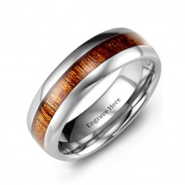 Polished Tungsten Ring with Koa Wood Insert