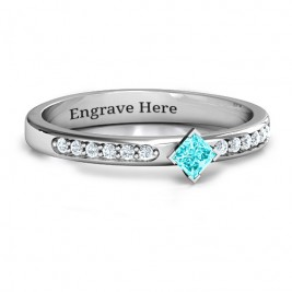 Princess Centre Stone Ring with Twin Accent Rows