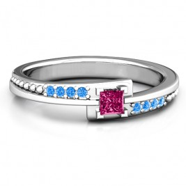 Princess Cut Ring with Accents