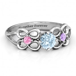 Quad Infinity Ring with Centre stone and Dual Accent Ring