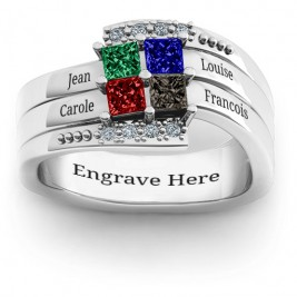 Quad Princess Stone Ring with Accents