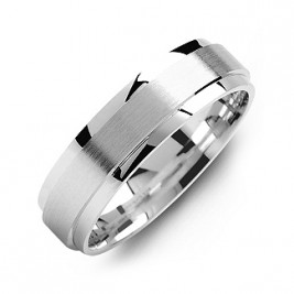 Raised Brush Centre Flat Polished Edges Men's Ring