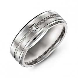 Rope Design Men's Ring with Stone and Beveled Edges