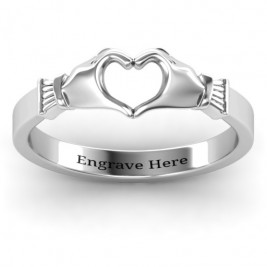 Sculpted Hand Heart Ring