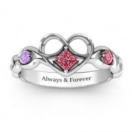 Shimmering Infinity Princess Stone Heart Ring