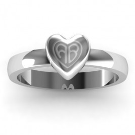 Small Engraved Monogram Heart Ring