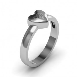 Small Engraved Monogram Heart Ring