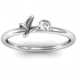 Soaring Butterfly with Stone 'Flower' Ring