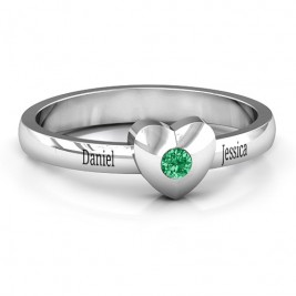 Solid Heart with Single Gemstone Ring