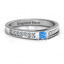 Solitaire Bridge Ring with Shoulder Accents