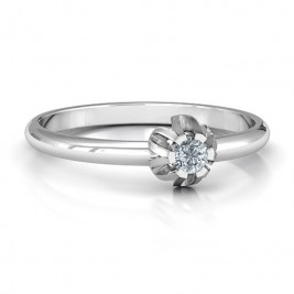 Solitaire Gemstone Ring in a Scalloped Setting