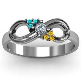 Solitaire Infinity Ring with Accents