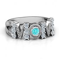 Split Shank Stone Filled MOM Ring