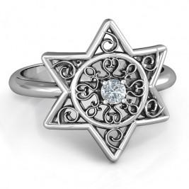 Star of David with Filigree Ring